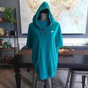 Nike Teal Short Sleeve Cowl Neck Hoodie Large